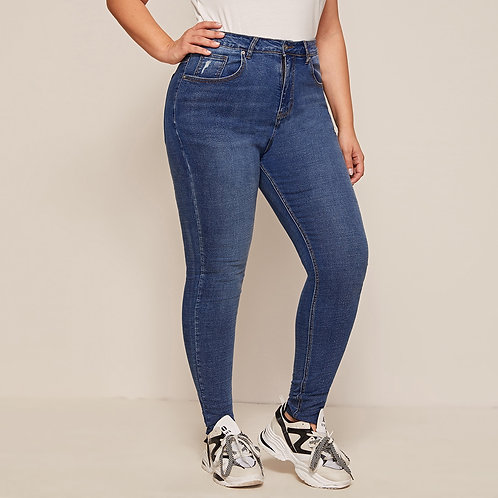 Plus Bleached Wash Skinny Jeans