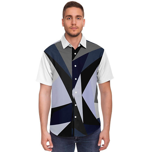 Patchwork Printed Short Sleeve Button Down Shirt