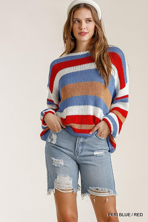 Stripe Round Neck Long Sleeve Knit Sweater Top