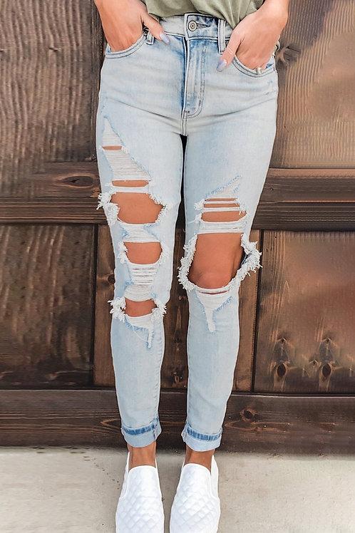 Bleu Vintage Washed Distressed Holes High Waist Jeans