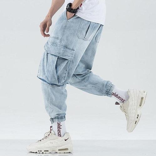 Men Multi-pocket Harem Hip Hop Pop Pants Trousers Streetwear Jeans