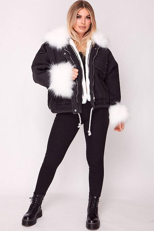 Black Oversized Denim Jacket with Faux Fur Trim