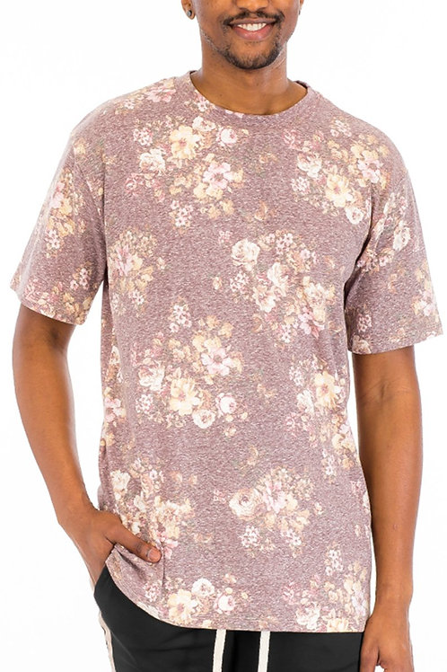 HEATHERED FLORAL SHIRT