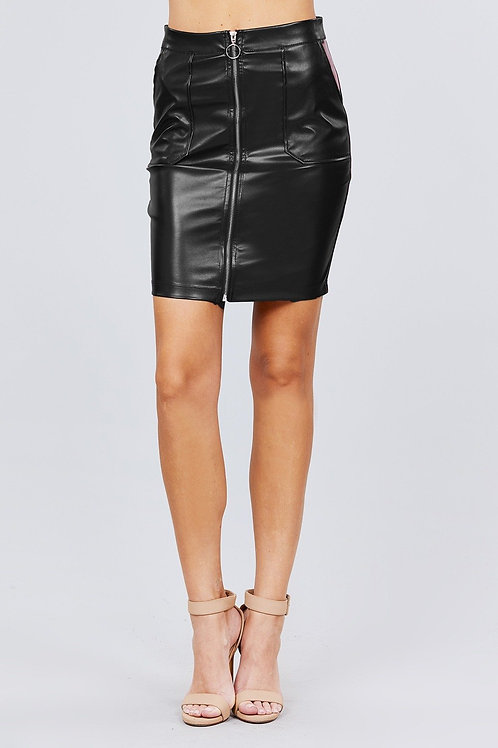 Black PU Leather Mini Skirt with Front Zipper
