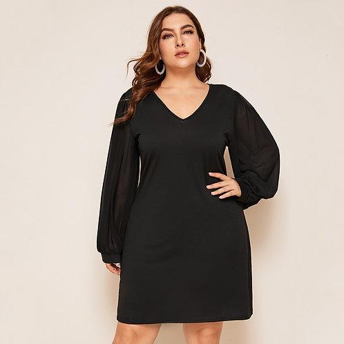 Plus Solid V Neck Bishop Sleeve Dress