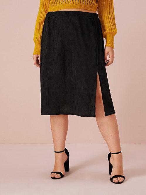 Plus Split Front Ribbed Knit Sweater Skirt