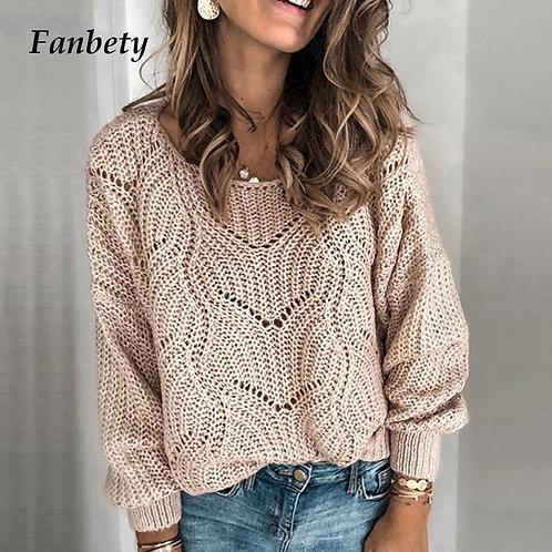 Autumn Elegant Solid Color Sweaters