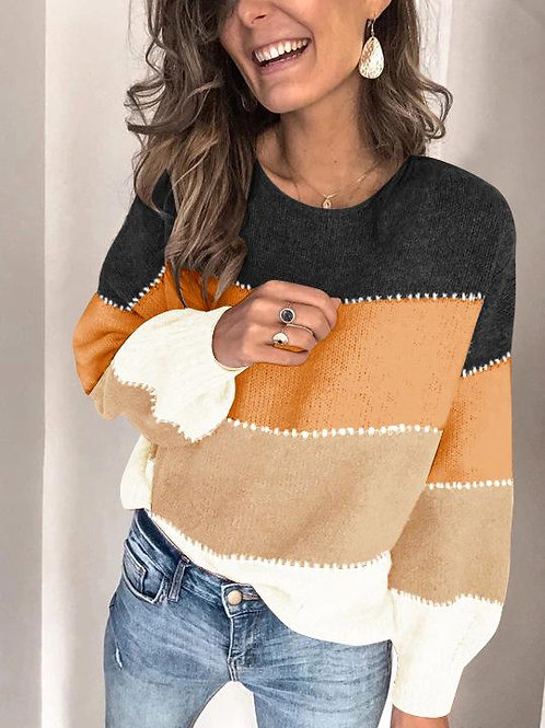 O-neck Patchwork Color Knitted Sweater