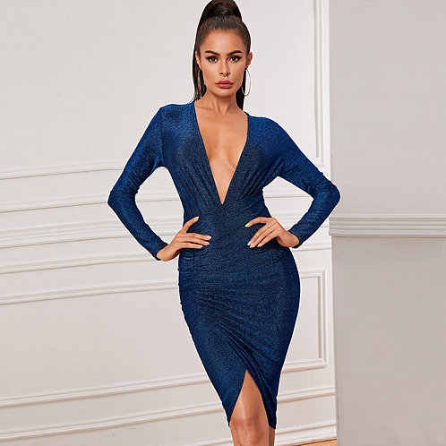 Plunging Neck Wrap Ruched Glitter Dress