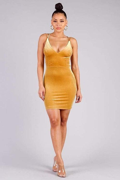 Yellow Velvet Crossover Strap Mini Dress