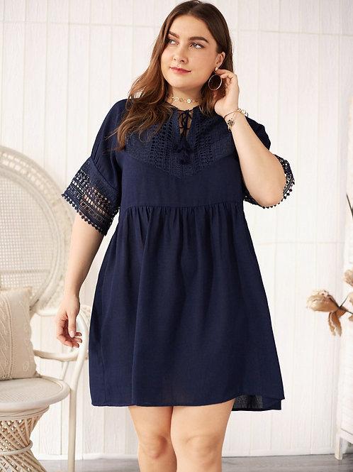 Plus Tie Front Contrast Lace Dress