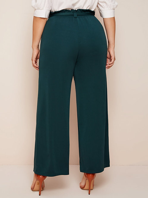 Plus Solid Wide Leg Belted Pants
