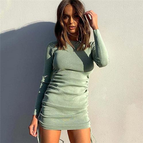 Women Fold Ruched Drawstring Slim Mini Dress