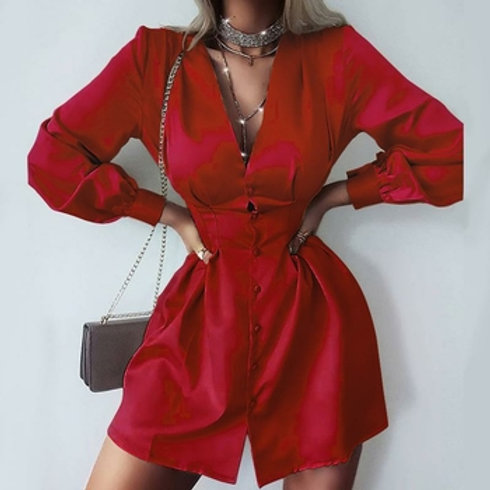 Sexy V-neck Long Sleeve Autumn Dress