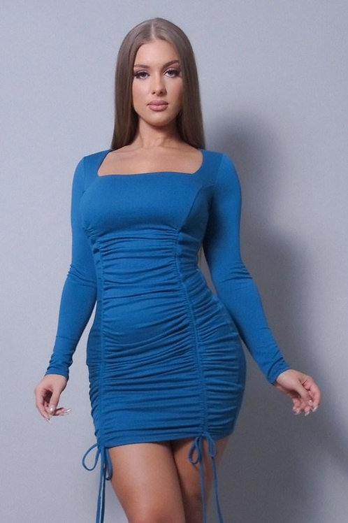 Sexy & Chic Long Sleeve Square Neck Ruching Tie Mini  Dress