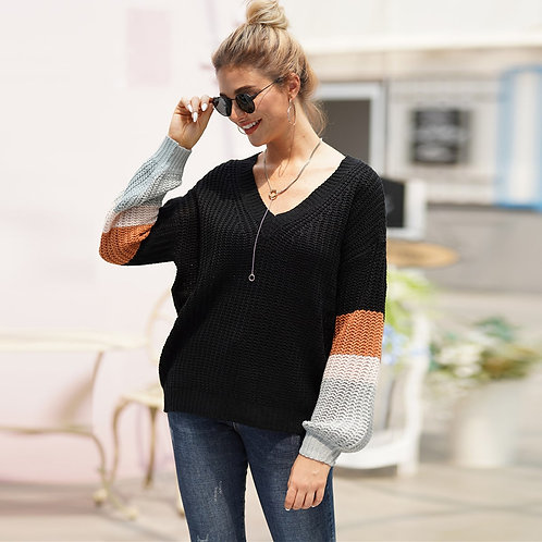 V-neck Colorblock Drop Shoulder Sweater
