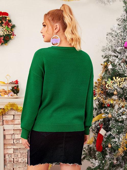 Plus Christmas Snowman Print Drop Shoulder Sweater