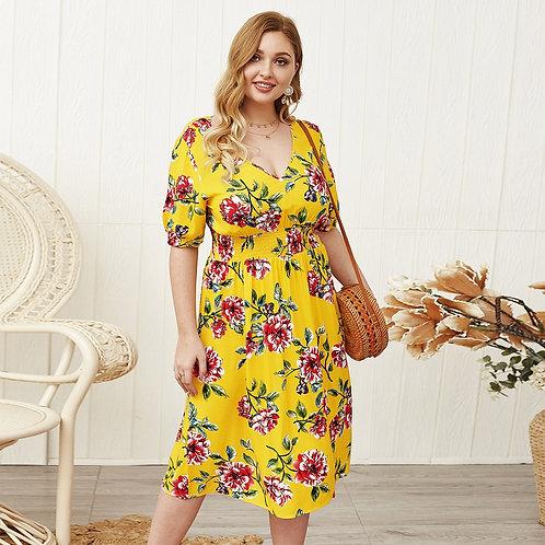 Plus Floral Print Shirred Waist A-line Dress