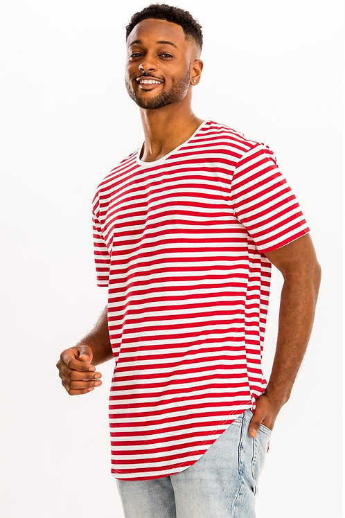 BASIC STRIPED TEE- RED/WHITE