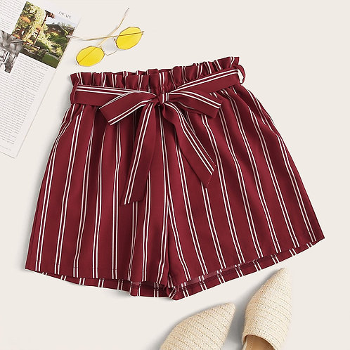 Plus Stripe Paperbag Belted Shorts