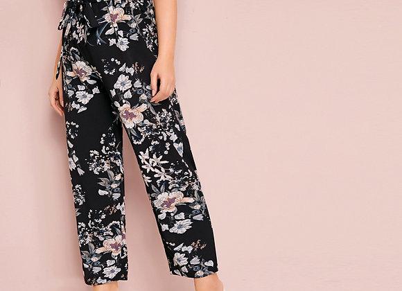 Plus Floral Paperbag Waist Belted Pants
