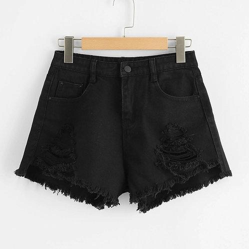 Plus Ripped Raw Hem Denim Shorts