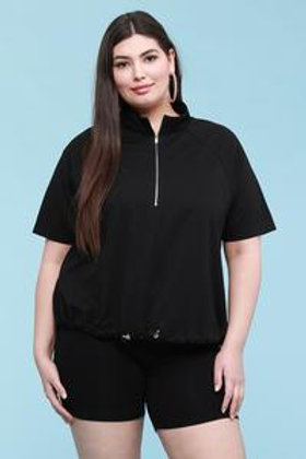 Black Plus Size French Terry Pullover Sweatshirt