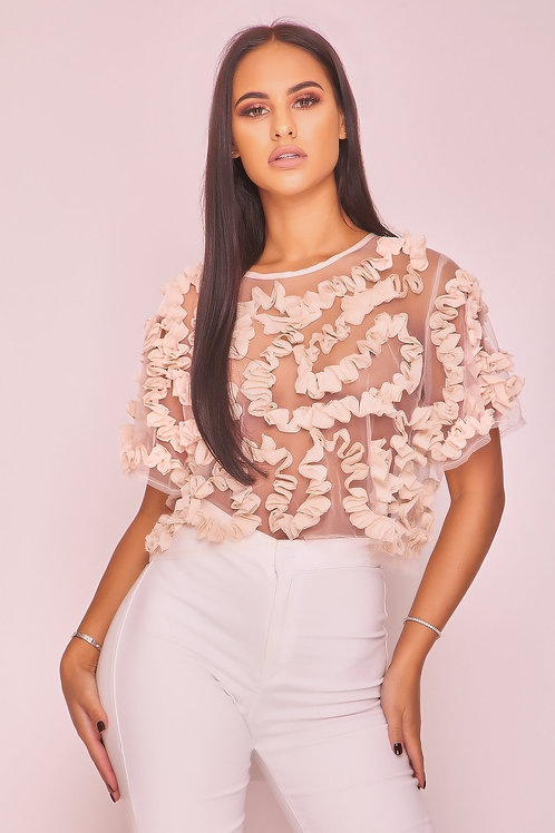 Apricot Mesh Frill Crop Top