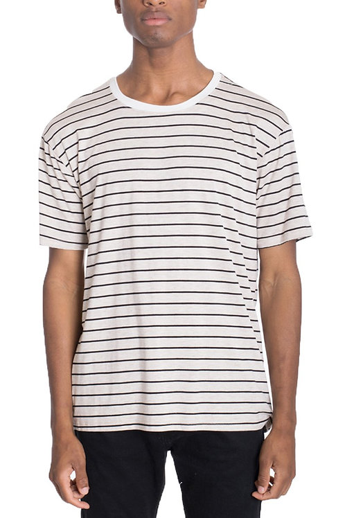 COT'N STRIPED TEE- KHAKI