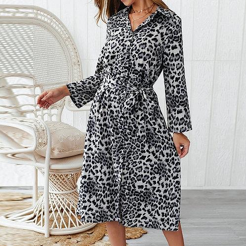 Fashion Leopard Print Long Shirts Dress