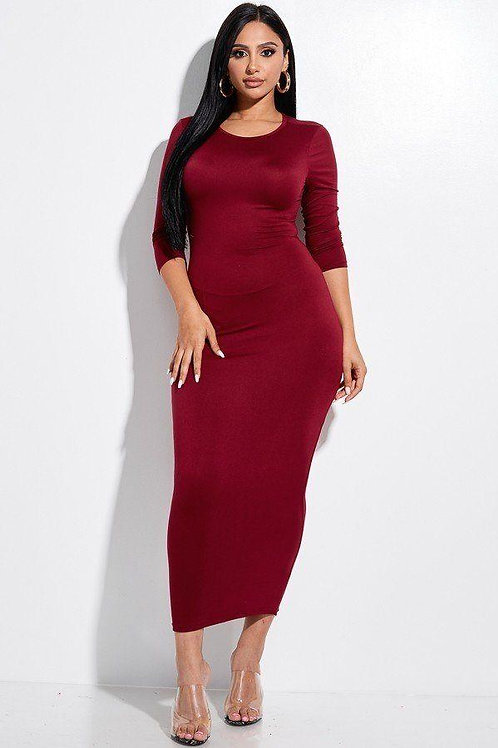 Red Solid 3/4 Sleeve Midi Dress With Back Cut Out Design
