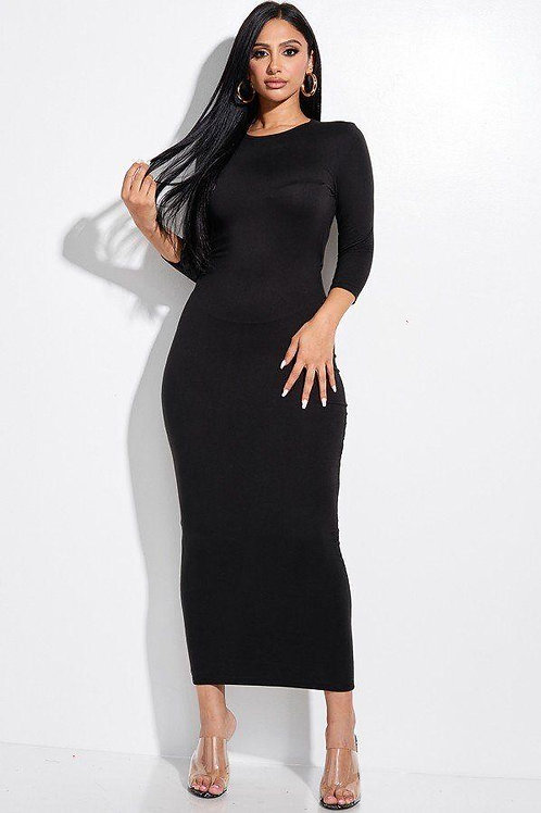 Solid Black 3/4 Sleeve Midi Dress With Back Cut Out Design