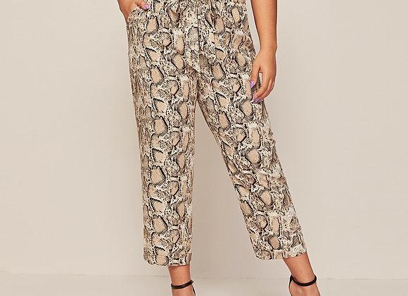 Plus Belted Paper Bag Waist Snakeskin Print Pants