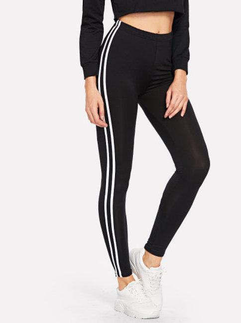 Striped Tape Side Elastic Waist Leggings