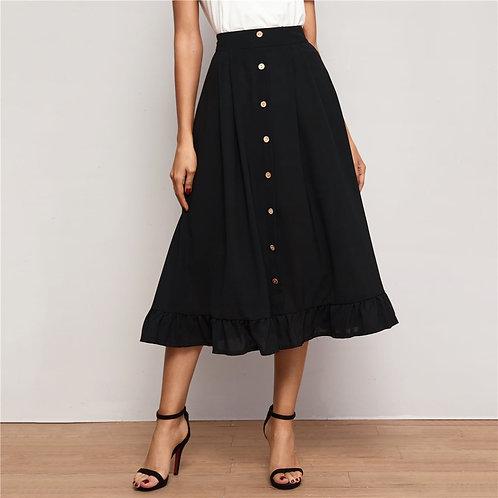 Button Front Ruffle Hem A-line Skirt