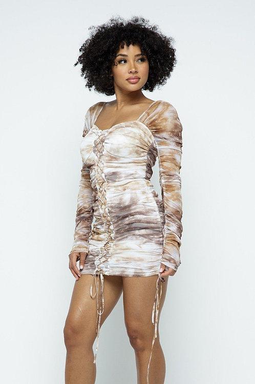Tie Dyed Mesh Lace Up Design Mini Dress