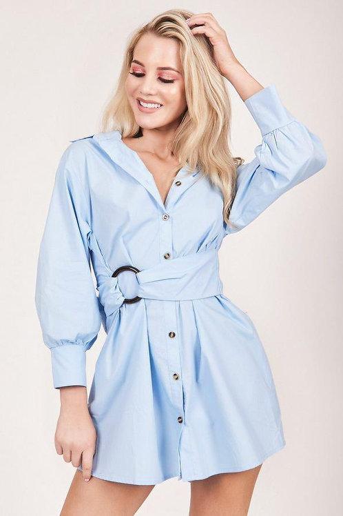 Blue Belted Shirt Dress