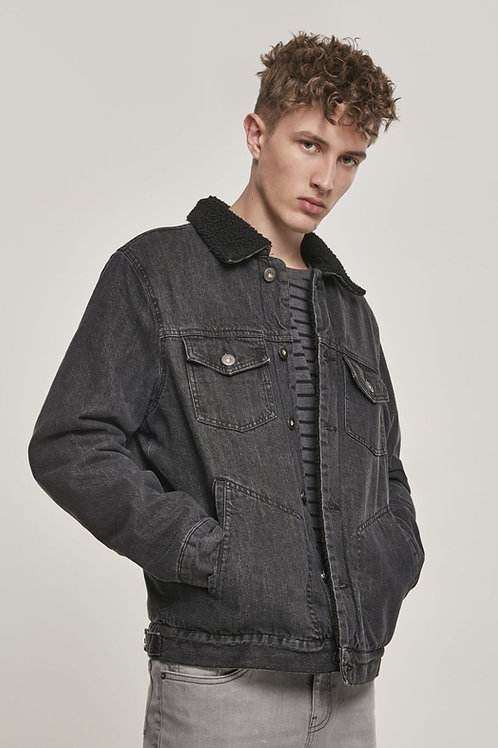 Sherpa Lined Jeans Jacket - Black Wash