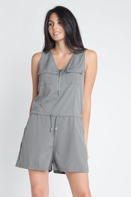 Women's Zip Front Sleeveless Romper