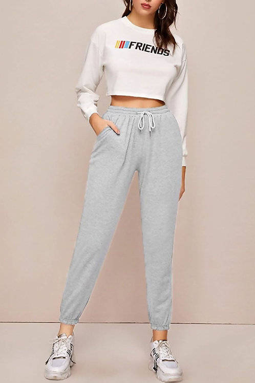 Light Grey High Waist Loopback Jogger