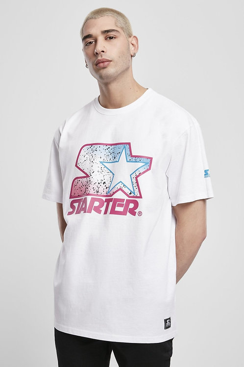 Starter Multicolored Logo Tee - White/Pink