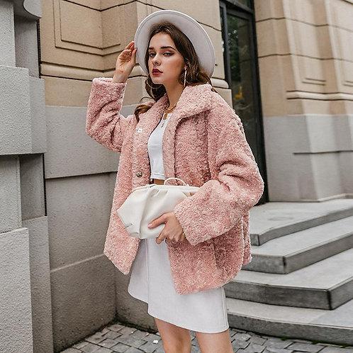 Elegant pink autumn winter female fur High street fashion long sleeve