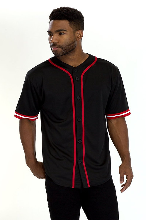 TAPED BASEBALL JERSEY- BLACK/RED