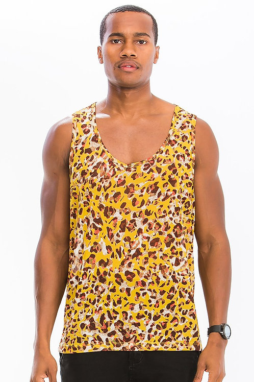 COLORED LEOPARD PRINT TANK- YELLOW
