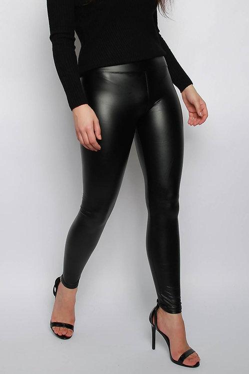 PU Wet Look Leggings - Black