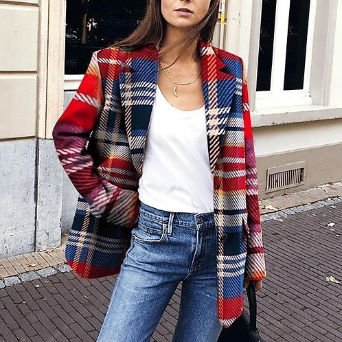 Lady Blazer Fashion Print Coat Jacket Cardigan Winter