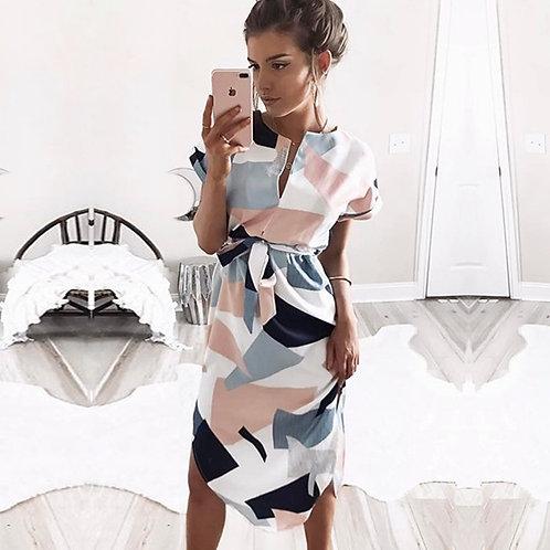 Women Midi Party Dresses Geometric Print Summer