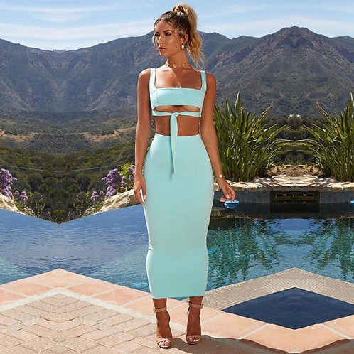 Womens Fashion, 2 Piece Crop Top And Skirt Outfit