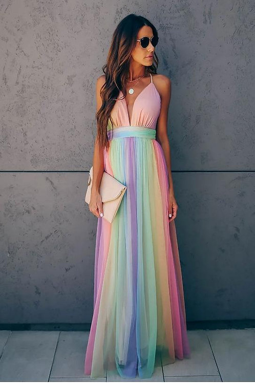Deep-v Rainbow Color Sleeveless Party Long Dress