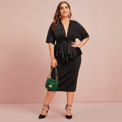 Plus Plunging Ruffle Trim Self Belted Pencil Dress